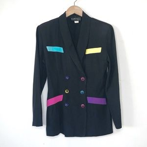 Vintage Rampage Jacket Black w/Neon Small 1980's
